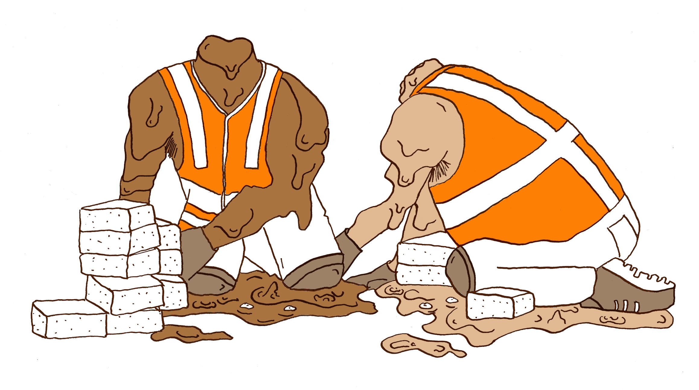 Zwetend de bouwvak in
