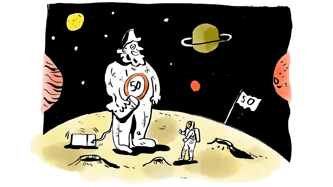 Apollo 11 ziet Abraham